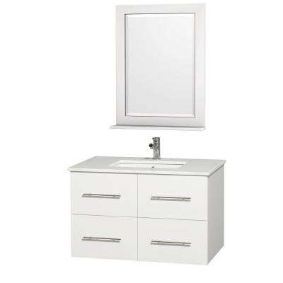 Centra 36 in. Vanity in White with Man-Made Stone Vanity Top in White and Square Porcelain Undermounted Sink