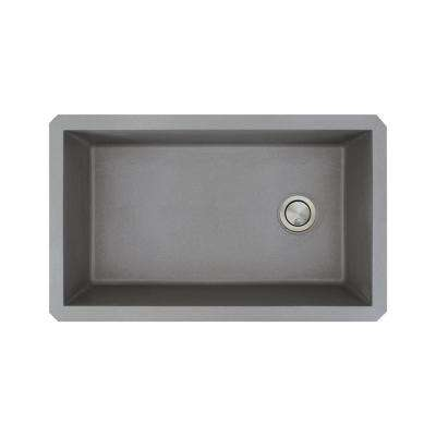 Radius Undermount Granite 32 in. Single Bowl Kitchen Sink in Grey