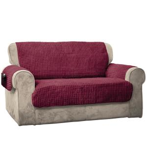 Burgundy Puff Chair Loveseat Furniture Protector by