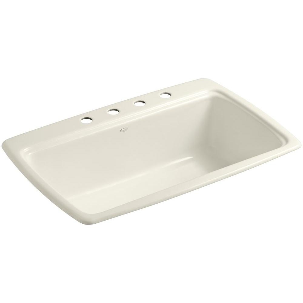 KOHLER Cape Dory Drop-In Cast-Iron 33 in. 4-Hole Single Bowl Kitchen Sink in Biscuit