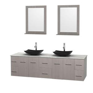 Wyndham Collection Centra 80 inch Double Vanity in Gray Oak with Marble Vanity Top in Carrara White, Black Granite Sinks... by Wyndham Collection