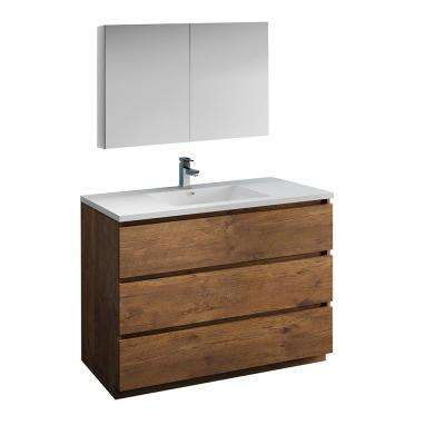 Lazzaro 48 in. Modern Bathroom Vanity in Rosewood with Vanity Top in White with White Basin and Medicine Cabinet