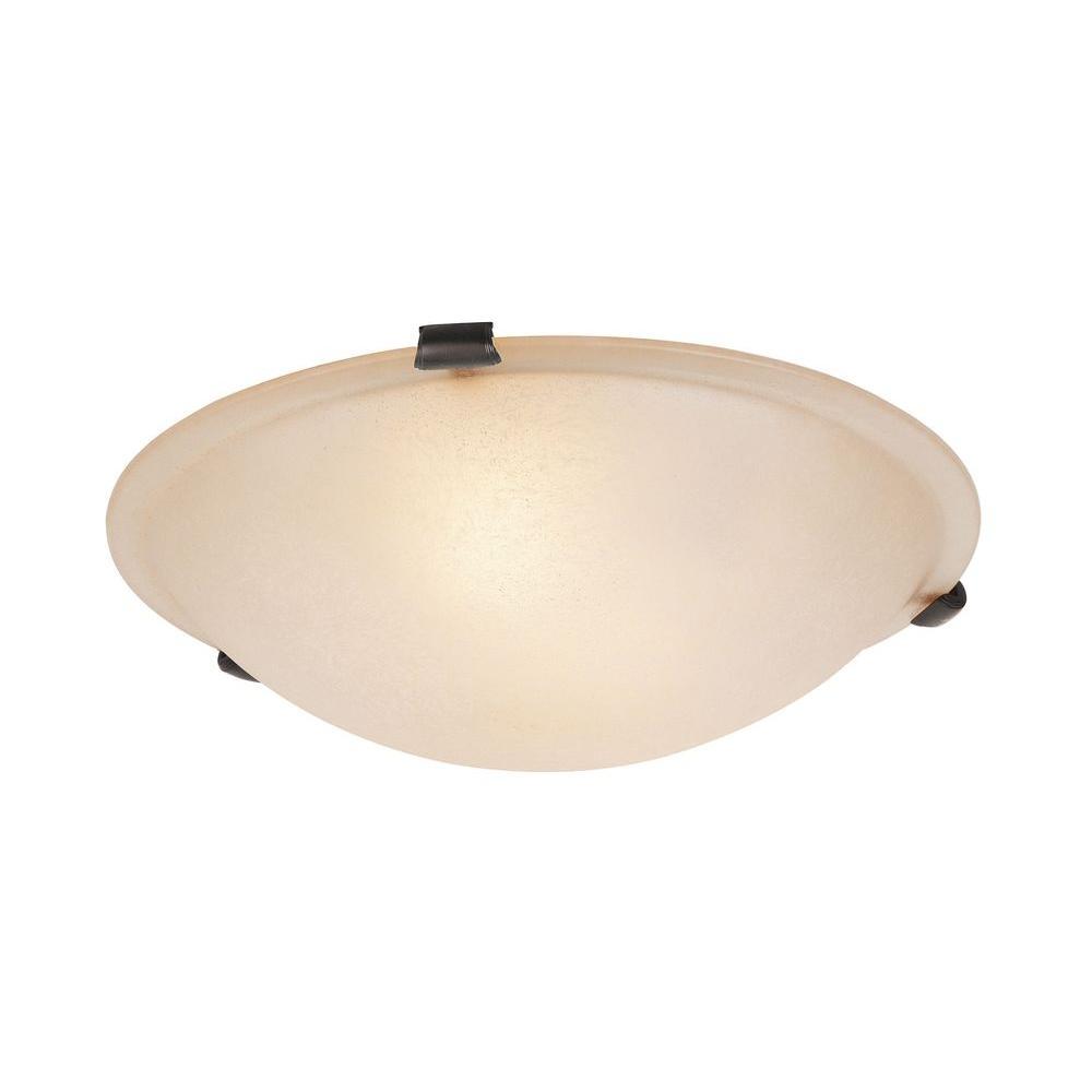 Providence 2-Light Bronze Flushmount with Honey Alabaster Glass