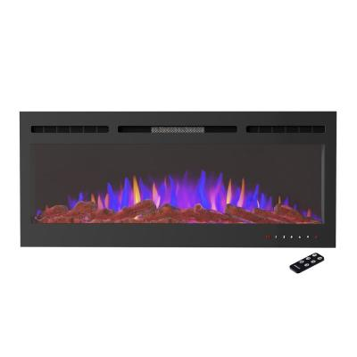 5110 BTU 50 in. Front Vented Fireplace Electric Furnace Wall Mount or Recessed-3 Color LED Flame, 5 Brightness Levels