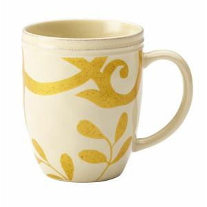 Dinnerware Gold Scroll 12 oz. Stoneware Beverage Mug in Almond Cream
