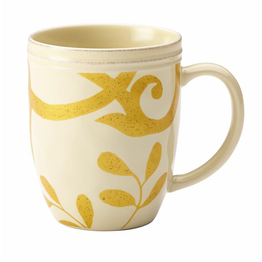 Dinnerware Gold Scroll 12 oz. Stoneware Beverage Mug in Almond Cream