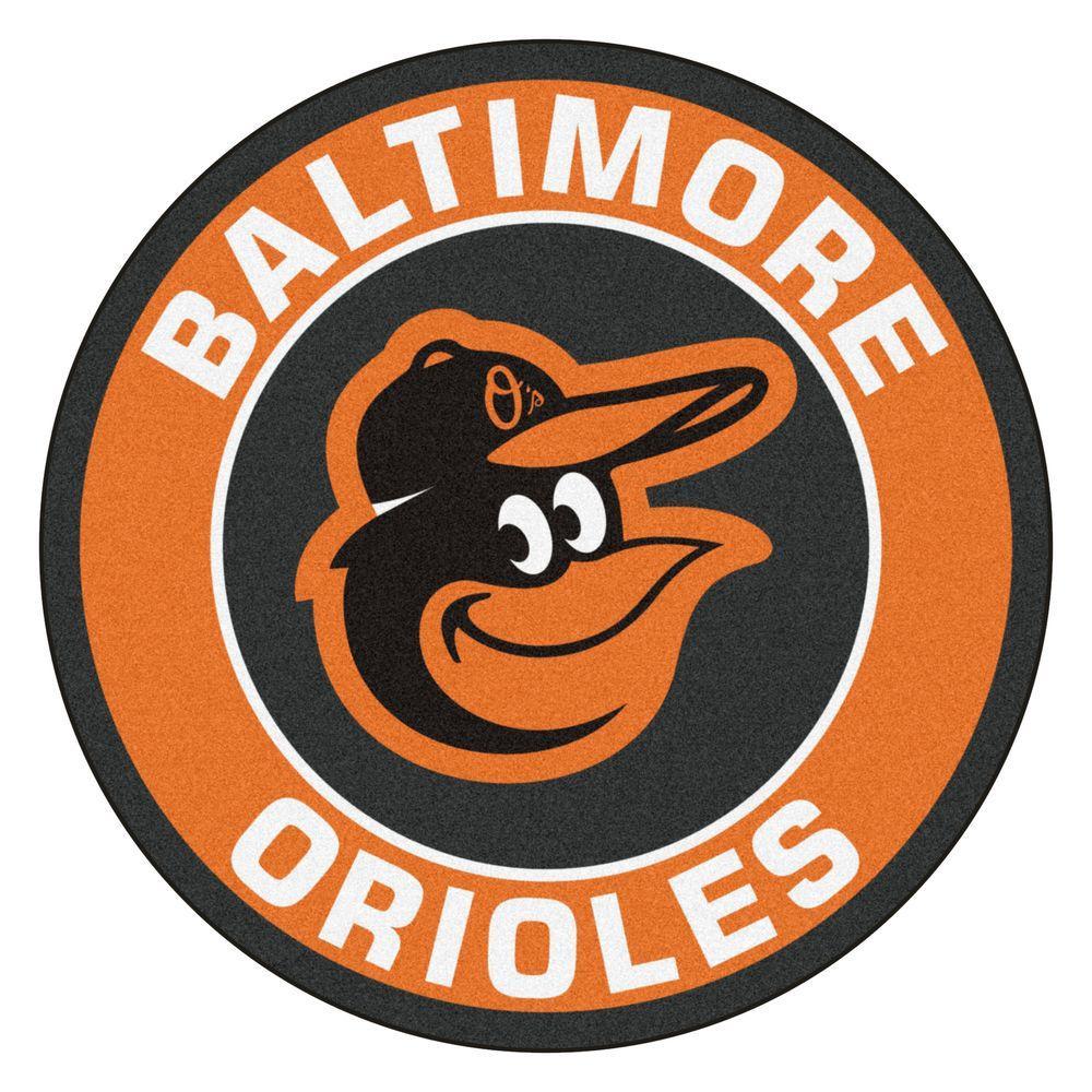 MLB Baltimore Orioles Orange 2 ft. x 2 ft. Round Area Rug