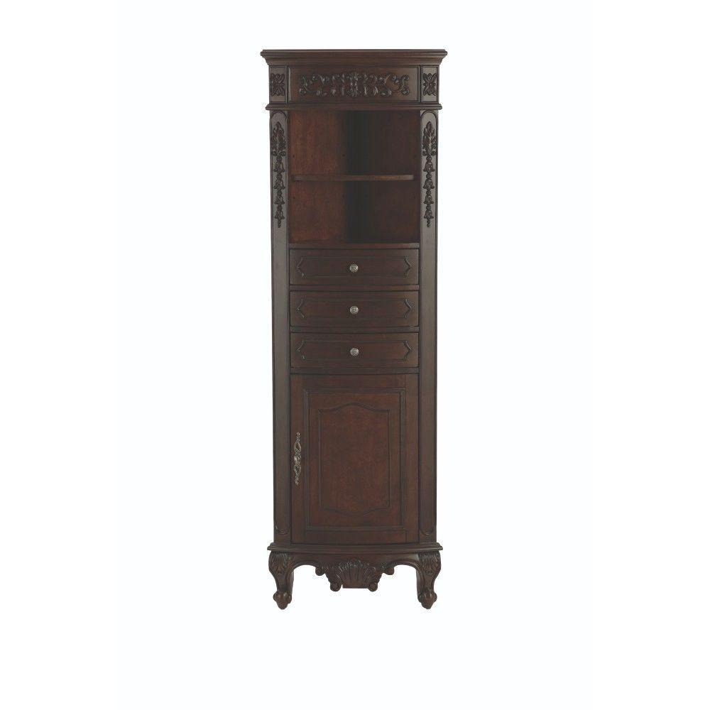 Winslow 22 in. W x 67-1/2 in. H x 14 in. D Bathroom Linen Storage Cabinet in Antique Cherry