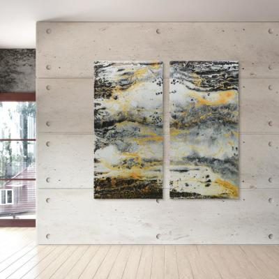 """Granite I & II"" High Resolution Graphic Art Print with Glitter and Epoxy Coating on Wrapped Canvas Wall Art"