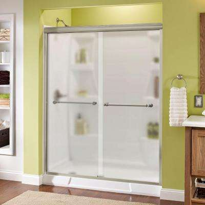 Silverton 60 in. x 70 in. Semi-Frameless Sliding Shower Door in Nickel with Niebla Glass