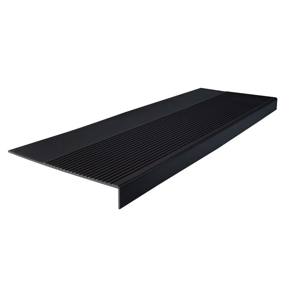 ROPPE Ribbed Profile Black 12 1/4 In. X 36 In. Square Nose Stair Tread 36801P100    The Home Depot