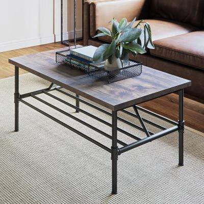 Maxx 41 in. Black Metal Frame Rustic Gray Top Industrial Pipe Coffee Table
