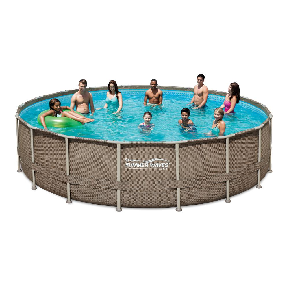 Summer Waves Elite 18 ft. Round 52 in. Deep Elite Metal Frame Pool w/ Sand Filter, Cover, SureStep Ladder and Maint. Kit, Dark Basket Weave -  P4J018523