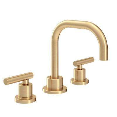 Dia 8 in. Widespread 2-Handle Low Flow Bathroom Faucet with Drain Assembly in Brushed Gold