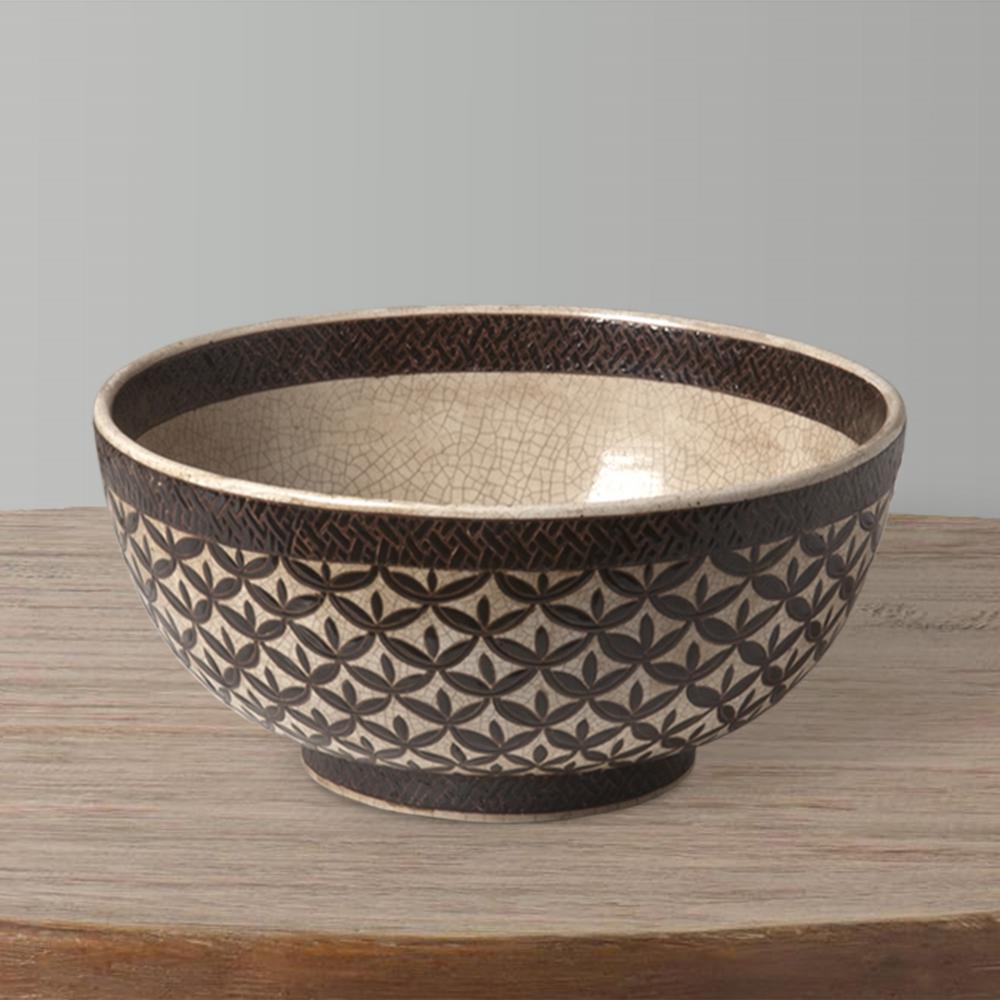 15 in. Dia Brown and Glazed Kobe Design Bowl