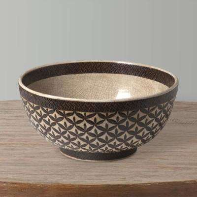 15 in. Dia Brown and Glazed Kobe Design Bowl