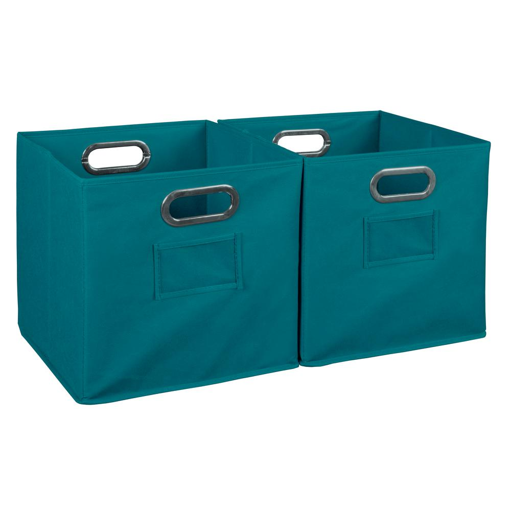 Cubo 12 in. x 12 in. Teal Foldable Fabric Bin (2-Pack)