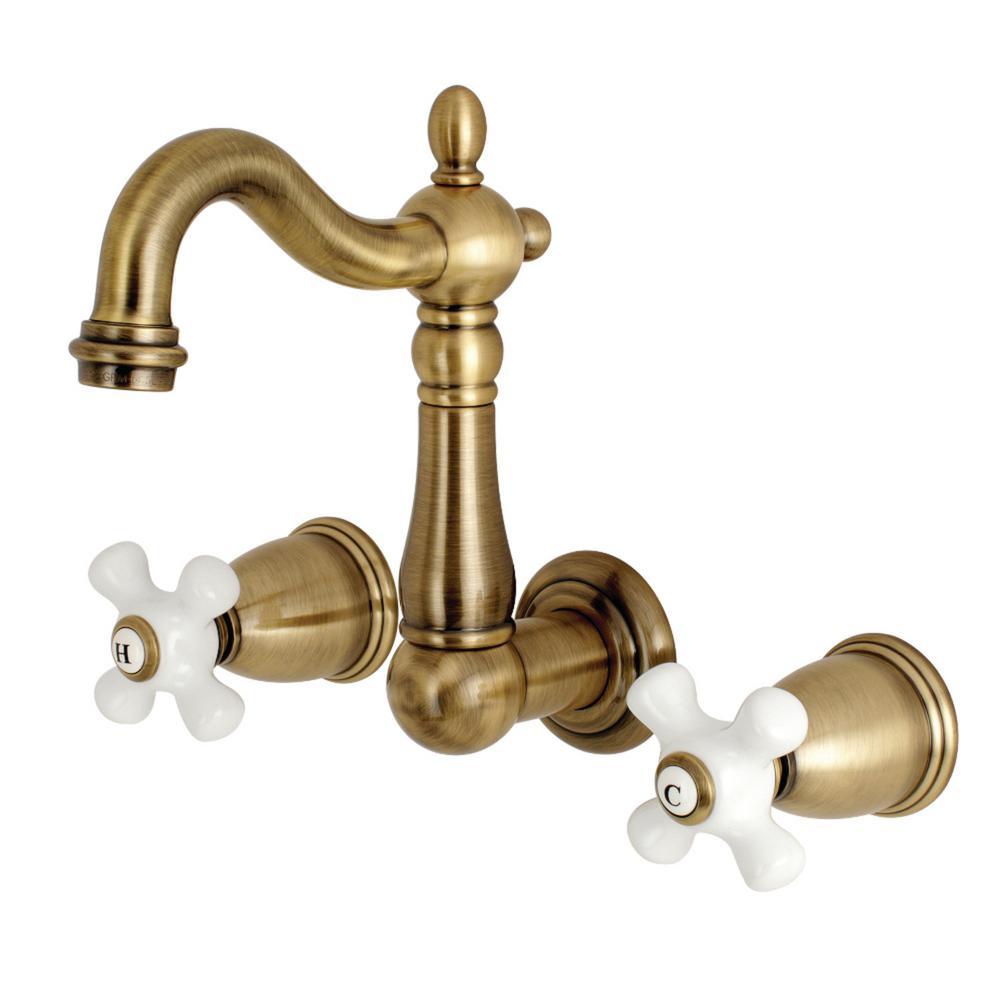 Heritage 2-Handle Wall Mount Bathroom Faucet in Antique Brass