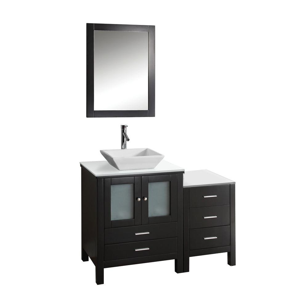 Virtu USA Brentford 45-1/4 in. Single Basin Vanity in Espresso with Artificial Stone Vanity Top in White with Mirror-DISCONTINUED