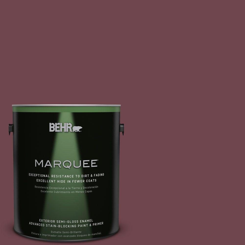 BEHR MARQUEE 1-gal. #PPU1-14 Formal Maroon Semi-Gloss Enamel Exterior Paint