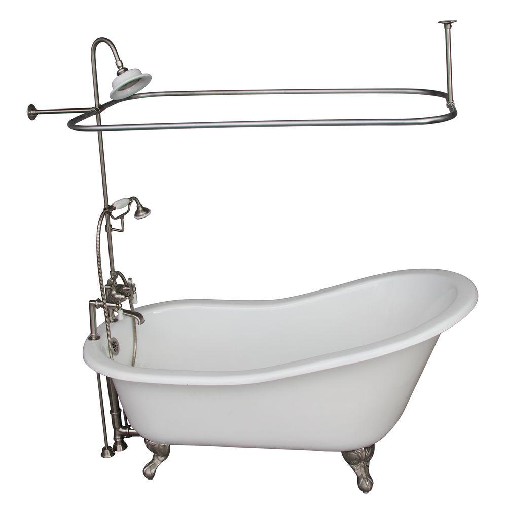 Barclay Products 5 6 Ft Cast Iron Ball And Claw Feet Slipper Tub In White With Brushed Nickel Accessories