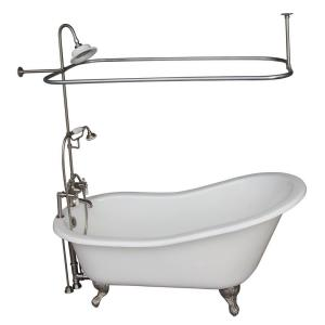 Barclay Products 5.6 ft. Cast Iron Ball and Claw Feet Slipper Tub in White with Polished Chrome Accessories by Barclay Products
