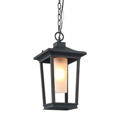 Black 1-Light Iron Outdoor Hanging Lantern with Frosted Cylinder Glass Shade