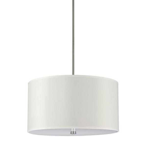 Dayna Collection 4-Light Brushed Nickel Shade Pendant with Faux Silk Shade