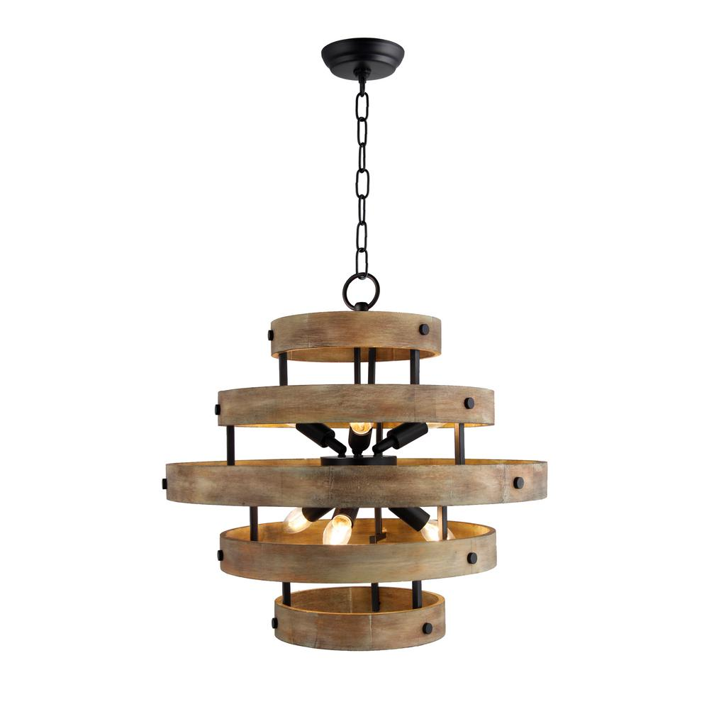 Y Decor 6-Light Matte Black and Natural Wood Candle-Style Wood Drum ...