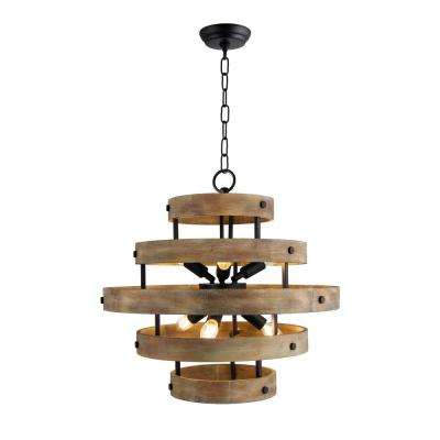 6-Light Matte Black and Natural Wood Candle-Style Wood Drum Chandelier