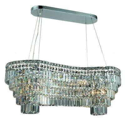 14-Light Chrome Chandelier with Crystal Clear