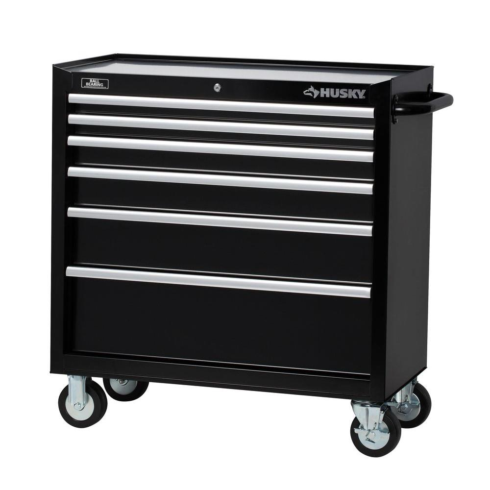 Husky Tool Cart >> Husky 36 in. 6-Drawer Tool Cabinet, Black-H36TR6 - The