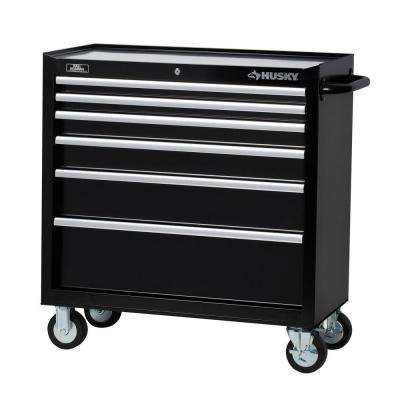 36 in. 6-Drawer Roller Cabinet Tool Chest in Black
