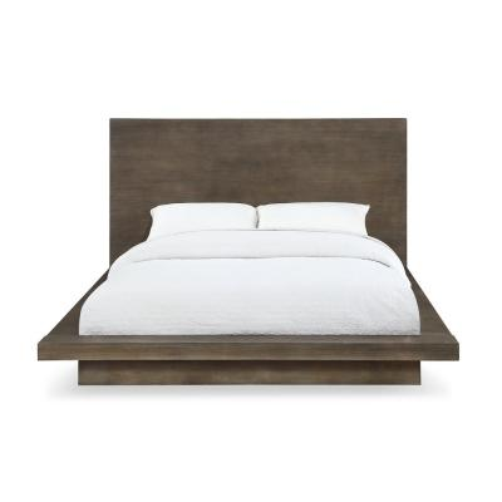Melbourne Light Wood Dark Pine California King Platform Bed with Weathered Finish