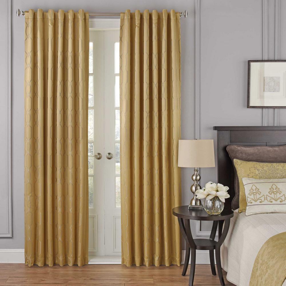 52 in. W x 108 in. L Yvon Blackout Window Curtain Panel in Gold