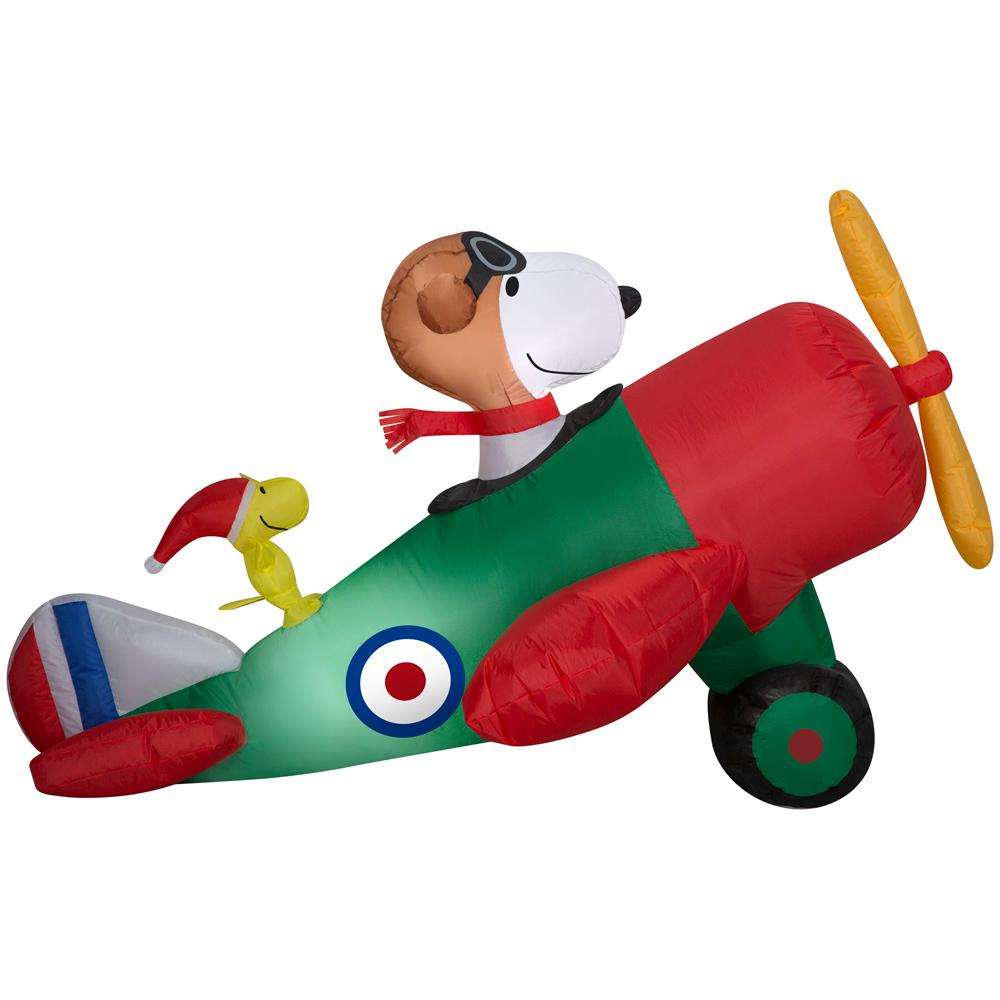 Snoopy And Woodstock Christmas Inflatable.Peanuts 2 5 Ft Pre Lit Inflatable Snoopy In Airplane Airblown Scene Peanuts