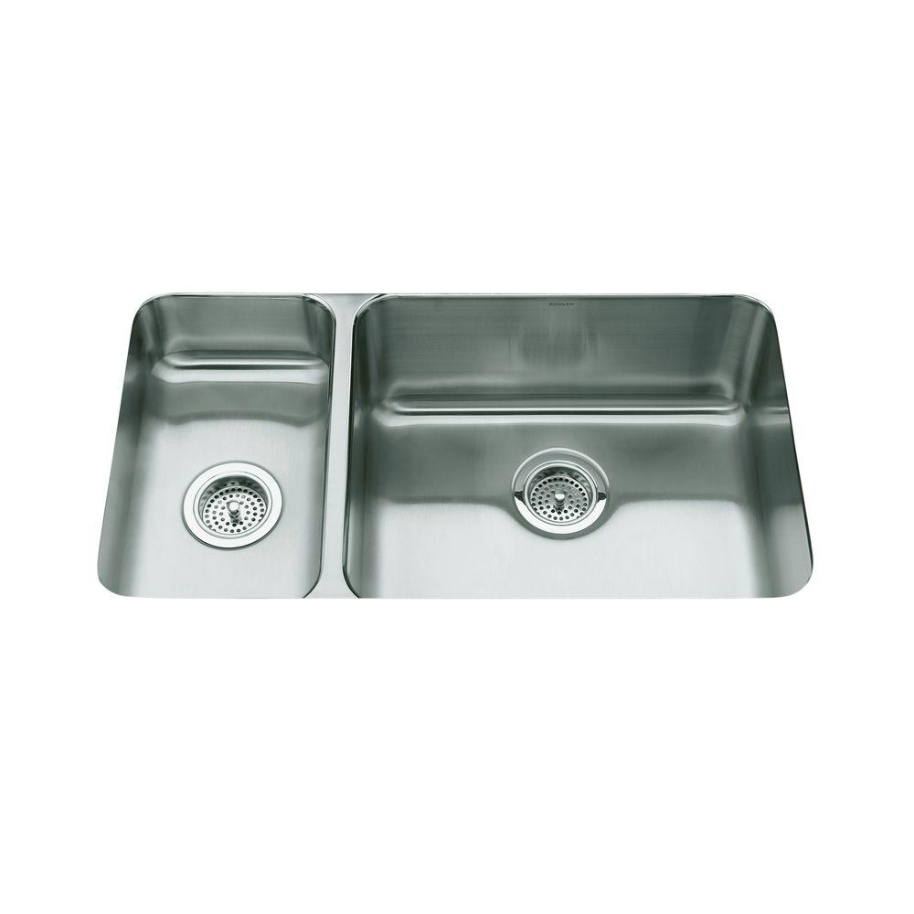 KOHLER Undertone Undercounter Stainless Steel 31.5 in. 0 hole Double Basin  Kitchen Sink