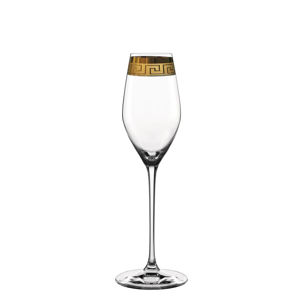 Muse 10.5 oz. Champagne Glasses in Clear with Gold Trim (Set