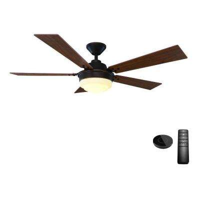 Emswell 52 in. LED Mediterranean Bronze Ceiling Fan with Light Kit Works with Google Assistant and Alexa