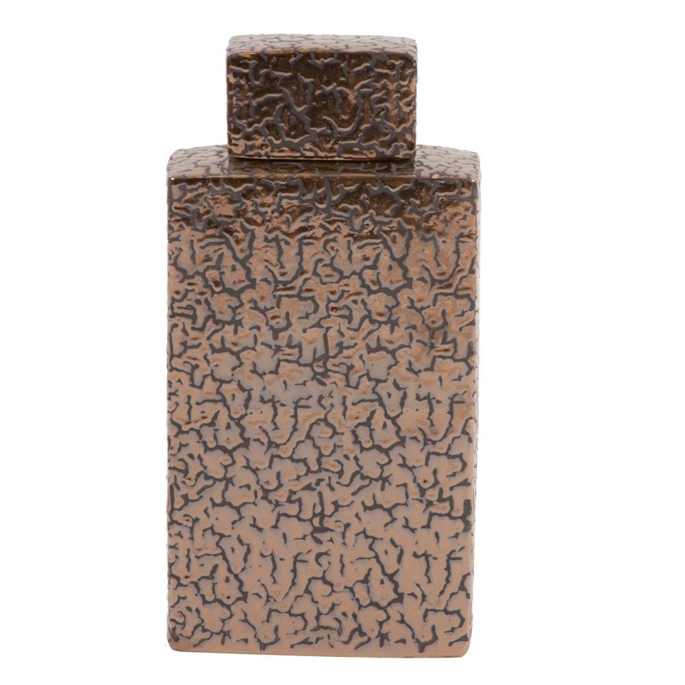 Large Crackled Metallic Bronze Decorative Jar