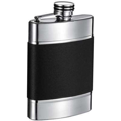 Wickeln Black and Brushed Metal Liquor Flask