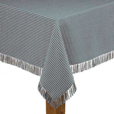 Homespun Fringed 52 in. x 52 in. Hunter 100% Cotton Tablecloth
