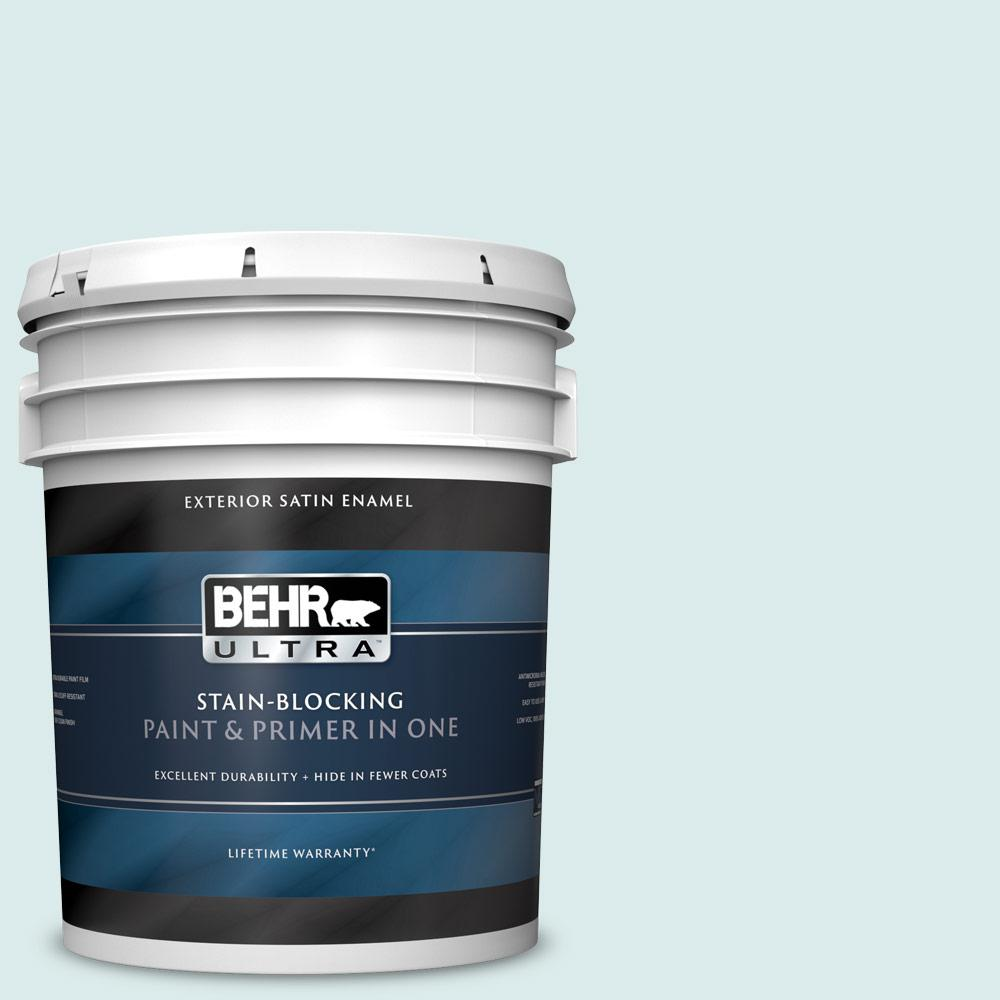 Behr Ultra 5 Gal 510e 1 Ice Folly Satin Enamel Exterior Paint And Primer In One 985005 The Home Depot