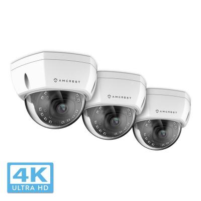 UltraHD Wired 4K (8MP) Outdoor Dome POE IP Security Camera with 98 ft. Night Vision, IP67 Weatherproof, White (3-Pack)