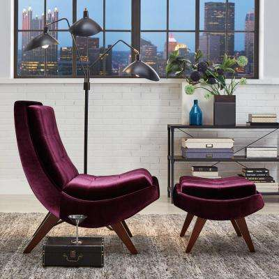 Purple Velvet Chair with Ottoman