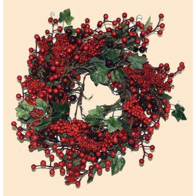 14 in. Mixed Berry Leaf Wreath on Twig Base