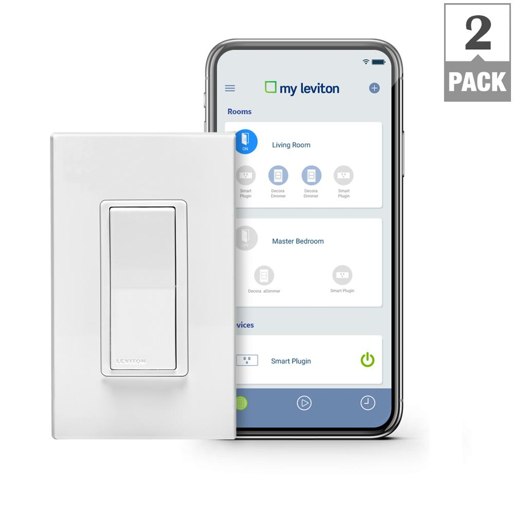 Leviton Decora Smart Wi-Fi 15A LED/ Switch, No Hub Required, Works with Alexa, Google Assistant and Nest (2-Pack)