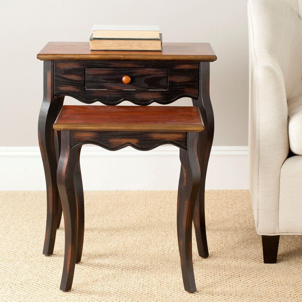 James Tiger Dark Brown 2-Piece Nesting End Table