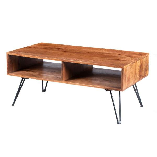 Brown and Black 42 in. Handcrafted Mango Wood Coffee Table with Metal Hairpin Legs