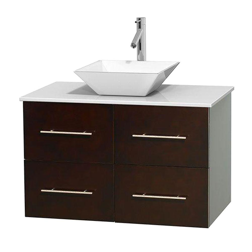 Wyndham Collection Centra 36 in. Vanity in Espresso with Solid-Surface Vanity Top in White and Porcelain Sink
